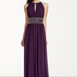 David Bridal Keyhole Beaded Waist Jersey Dress